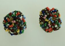 CLIP ON EARRINGS carnival color beads