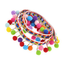 Black+Colorful Pom Pom Bobble Tassel Multi Colour Trim Braid Fringe Ribbon Craft