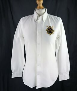 Womens RALPH LAUREN Classic fit White Button-up Shirt Size UK 8 Crest Big Pony