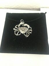 Crab R30 Pewter Pendant on a  BLACK CORD  Necklace
