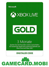 Xbox Microsoft Live Gold Carte 3 Mois pour XBOX 360 XBOX One/Xbox Live 3 Mois FR