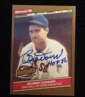 BOBBY DOERR 1986 DONRUSS Autographed Signed AUTO Baseball Card RED SOX HOF 32