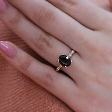 2Ct Oval Cut Black Diamond Unique Solitaire Engagement Ring 18K Rose Gold Finish