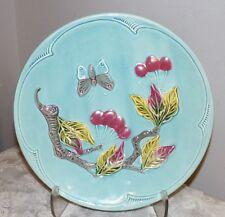 German Majolica plate G S Zell Harmersback 1940's Butterfly & Cherries aqua