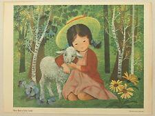Mary Had A Little Lamb Vintage 1957 Mother Goose Nursery Rhyme Decorative Print