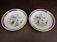 Set of Two Antique Pink Luster Bowls With B&W Floral Scene (Cat.#10T013)