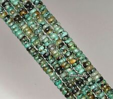 4X2MM AFRICAN TURQUOISE GEMSTONE  RONDELLE DONUT 4X2MM LOOSE BEADS 7.5""