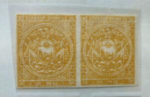 Ecuador 1865-81 Un Real Gold Imperf Pair NHMint