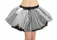 LADIES WOMENS 3 LAYERS BLACK / WHITE GREY ZOMBIE TUTU SKIRT HALLOWEEN FANCY DRES