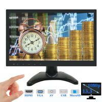 "13.3"" IPS LCD Monitor 1080P PC CCTV Bildschirm HDMI/VGA/USB/MicroSD/AV Speaker"