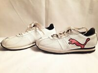 PUMA VINTAGE Athletic Sneakers Shoes White Red Black Leather Women's Sz 7.5 US