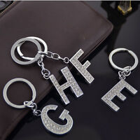 New Bling Key Chain Keyring Letter Sparkly Diamante Ring Crystal Metal Alphabet