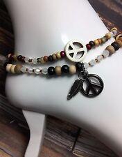 Handmade Howlite Peace Hematite Anklet/Ankle Bracelets W/Swarovski Elements USA