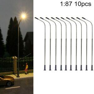 10PCS Model Railway Train Lamp Post Street Lights HO Scale LED Light 1:87