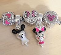 Disney 3D Minnie Mickey Hot Pink Crystal Mouse Heart European Beads Dangle Charm