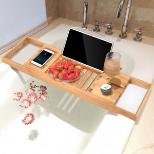 Wooden Over Bath Rack Bathroom Storage Stand Tray Bathtub Book Video Extendable