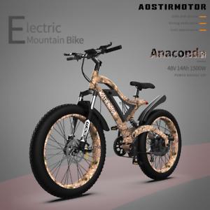 "AOSTIRMOTOR 1500W Electric Bike Mountain Bicycle 48V/15Ah 26"" Fat Tire E-bike US"
