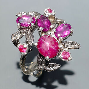 Fashion Art Unique Star Ruby Ring Silver 925 Sterling  Size 9 /R165146