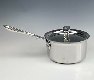 All Clad Handcrafted d5 Brushed Stainless Steel 1.5 Qt Quart Lidded Saucepan SMS