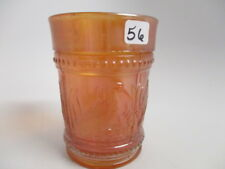 "ANTIQUE DUGAN MARIGOLD CARNIVAL GLASS 4"" TUMBLER BEADED HERON STORK & RUSHES"