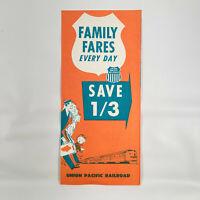 1969 Union Pacific Railroad Vintage Travel BRochure Family Fares Rates Trains UP