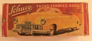 SCHUCO VINTAGE TIN CLOCKWORK TACHO-EXAMICO 4002 IN RED Original BOX!