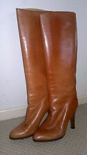 Neutral-Boots-Leather-Size 8-Pull On-Knee High-Size 39-Italian-Designer-1980's