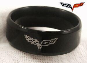 Corvette Chevy Chevrolet Black Wedding Band Custom Ring (multiple sizes widths)