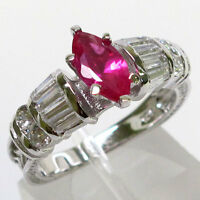 CLASSY 1 CT RUBY MARQUISE CUT 925 STERLING SILVER RING SIZE 5-10