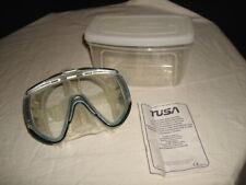 "TUSA ""VISUALATOR"" BLUE/BLACK TEMPERED GLASS SNORKELING MASK MINT"