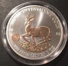 2012 AFRICAN GABON SPRINGBOK GILT - 1 oz Silver Coin 1000 Francs CFA in Capsule