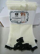 New HE Leg Warmer Cream & Black Lace Trim 2 button one size winter free shipping