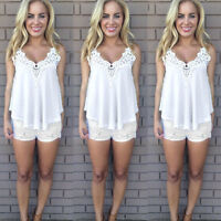 US Womens Summer Lace Vest Chiffon Sleeveless Blouse Tank Tops T-Shirt Plus Size