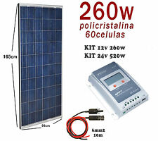Kit 260W 12V panel solar placa caravana autocaravana furgoneta barco