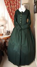 Civil War Reenactment Day Dress Size 22 Dark Green Solid