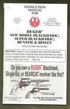Ruger Factory Owners Manual - New Model, Super, Hunter & Bisle