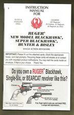 Ruger Factory Owners Manual - New Model, Super, Hunter & Bisle 00006000 Y Single Action