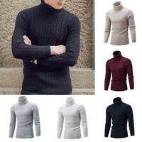 Men'S Winter Knitted Cable Pullover Slim Fit Turtleneck Sweater KnitLightweight
