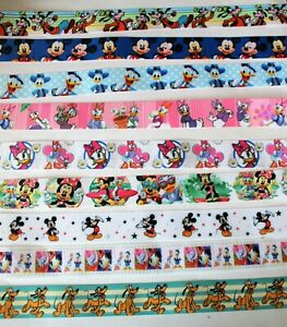 Cute Mickey Mouse & Friends Ribbons ,25 mm ,9 designs, for cakes, bows & crafts.