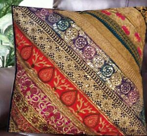 "24"" NAVY STUNNING HEAVILY BEAD KUNDAN SEQUIN SARI THROW BED CUSHION PILLOW COVER"
