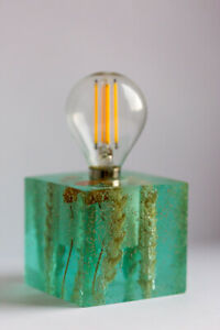 Epoxy resin lamp with wheat tights and field flowers