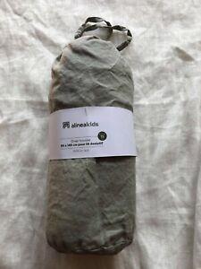Drap-housse 90 x 140 cm lit évolutif bébé enfant alinéa vert 100% lin lavé neuf