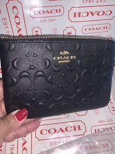 Coach Corner Zip Wristlet In Embossed Signature Black Leather