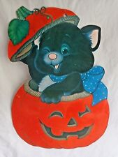 "Vintage Halloween Paper Decoration 18"" BLACK CAT Flocked Jack O Lantern Pumpkin"