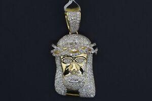 10k Solid Yellow Gold Hip Hop SI Diamond 0.75ct Jesus Head Pendant Charm
