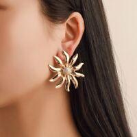 Fashion Big Gold Sun Flower Earrings Women Ear Stud Drop Dangle Jewelry Gifts