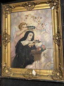 Antique and Painting religious Saint Rita Nun Angels Cherubs Catholic Church