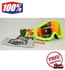 100% PERCENT BRAND STRATA GOGGLES MX ATV MOTOCROSS MOTO MERCURY YELLOW W/ MIRROR