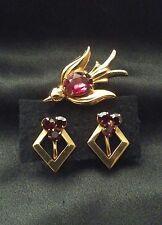 Vintage Coro Pegasus GoldTone Bird Brooch Pin w/ Red Belly Rhinestone & Earrings