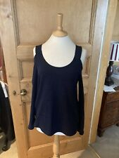 Topshop Blue Knitted Jumper Cutout Shoulder Size 12